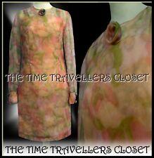 True Vintage 1960s Floral Peach Pink Unique Handmade Midi Sheath Dress UK 8 10