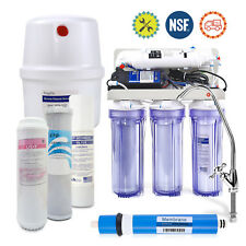 5 Stage Home Drinking Reverse Osmosis System 50G RO Water Filter Clear W/Pump