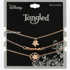Disney Tangled Princess Rapunzel Gold Tone Dainty Charms 3 Piece Bracelet Set