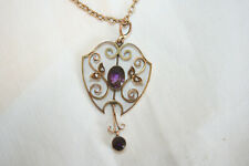 Edwardian 9Ct Gold, amethyst and pearl lavalier pendant on 9Ct chain.