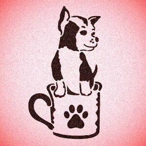 Dog inside Cup Stencil Mylar Dogs Pet Décor Stencils