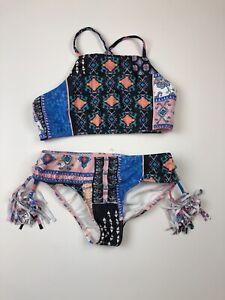 Seafolly, Girl's Size 12, Bikini Set, Pink/Black/Blue