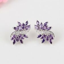 Women Purple Vintage Flower Earrings CZ with White Gold Plated and Copper Metal