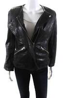 Etoile Isabel Marant Womens Leather Solid Motorcycle Jacket Black Size M