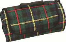 HIGHLANDER GREEN TARTAN CHECK PICNIC BLANKET FLEECE TRAVEL RUG CAMPING