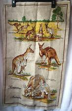 Kangaroo Linen Tea Towel Australia Vintage Neil Poland Kitchen Tan Marsupial