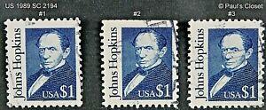 US 1989 SC 2194 $1 JOHN HOPKINS DEEP DARK BLUE UNG FINE/VERY FINE
