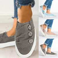Womens Casual Canvas Slip On Flats Trainers Plimsolls Distressed Sneaker Shoes