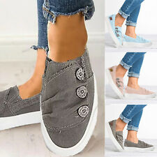 Women Ladies Summer Casual Canvas Slip On Flats Trainer Distressed Sneaker Shoes