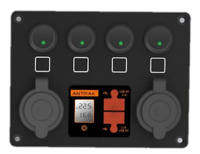 12V DC Power Panel Dual Battery Voltmeter 2X USB & 2X Ciga 4 Ways Surface Mount