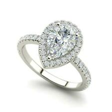 14k White Gold Finish PEAR Cut Diamond Halo Ring
