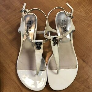Michael Michael Kors Patent Leather Cream T Strap Sandals Size 8M