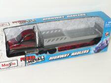 MAISTO SPEED FRESH METAL HIGHWAY HAULERS RACE CAR TRANSPORTER 1:64 BLACK ON FIRE