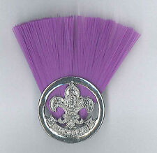 SCOUTS OF MONGOLIA - SCOUT COMMISSIONER (PURPLE COLOUR) Metal Plume / Hat Patch