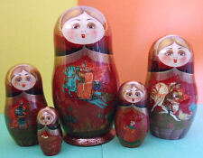 5pcs. Hand Painted Russian Nesting Doll Russian Warriors W/ Flowers On Back