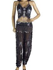 Black Bellydance Harem Pants Halter Bra Coin Trousers Bellydancing Clothing S