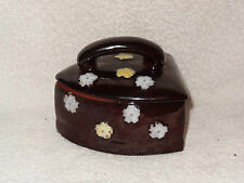 Vintage Stoneware Ceramic Iron Shaped Covered Dish Brown & Floral- Made in Japan