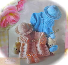 Knitting Pattern Baby's Sweet Matinee Coats, Brimmed Hat & Shoes