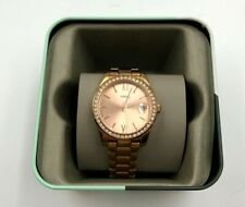 Fossil Woman's Watch Round Blingy Rose Gold Tone Small Band