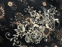 """Brown Black Off White Floral Cotton Fabric 1/3 Yd Quilting Crafting 43""""W x 12""""L"""