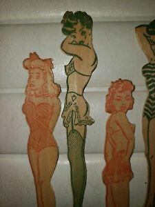 1940's 1950's Martini Stirs - Barwaiana- Pinup - Risqué Stir Sticks wood