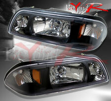 1987-1993 FORD MUSTANG LX GT BLACK HOUSING AMBER REFLECTOR HEADLIGHTS PAIR
