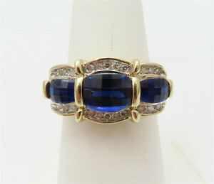 14K Yellow Gold Faceted Sapphire 3 Stone & ~1/5CTW Diamond Ring Size 6 3/4