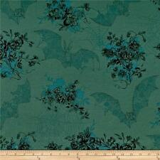 Angelas Attic Bat Spider Web Floral BouquetHalloween Cotton Quilting Fabric 1/2Y