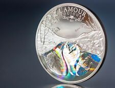 2011 L'AMOUR TOUJOURS Silver Coin, Valentines, Swans, Cameroon, Holographic