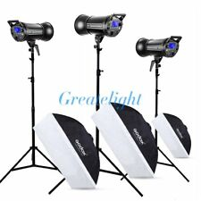 3X Godox QT-600II 2.4G Studio Strobe Flash Light + Light Stands Softbox 60*90cm