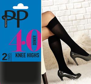 Pretty Polly Black Knee Highs 40 Denier Opaques - 2 Pair Pack BNIB
