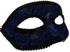 Masquerade Eye Face Mask Blue & Black Masked Ball Fancy Dress
