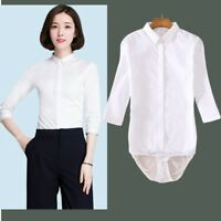 Women's Bodysuit Shirt Work Blouse Top Button Down Three Quarter Sleeves Cotton