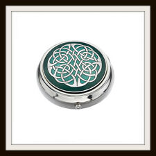 CELTIC KNOT GREEN ENAMEL PILLBOX ~ FROM SEA GEMS ~