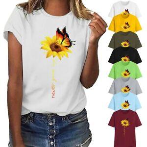 Women Short Sleeve T-Shirt Top Casual sunflowe Print Basic T-Shirt Blouse BE