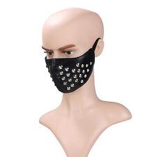 Black Leather Rivet Steampunk Sports Cosplay Motorcycle Biker Half Face Mask