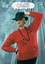 ~ King Cole Knitting Pattern For Lady's Round Neck Check Motif Mohair Sweater ~