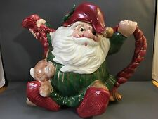 VINTAGE FITZ & FLOYD OLD WORLD ELF SANTA  40 oz TEAPOT CHRISTMAS DECORATION 1989