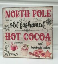 shabby vintage chic christmas north pole hot cocoa wooden picture plaque sign