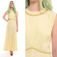 Vintage 70s GODDESS Metallic Beaded Grecian Boho Wedding Cocktail Maxi Dress L