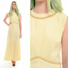Vintage 70s GODDESS Metallic Beaded Grecian Boho Wedding Cocktail Maxi Dress L