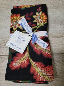 "April Cornell Napkins Set Of Four NEW 16"" x 16"" 100% Cotton Black & Red Floral"