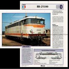 Fiche Locomotive BB 25100 Chemin de Fer Train 1965 réseau français Railway Card