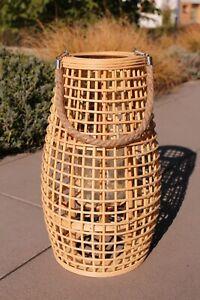 Laterne Bambus, Rattan, mit Glaseinsatz, Holz, Kerze, 50 cm hoch, Windlicht, NEU
