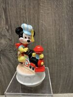 Vintage Mickey Mouse Ceramic Music Box Train Conductor Schmid Rotating Disney