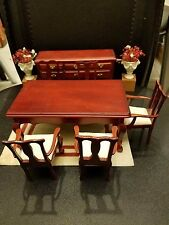Vintage Chippendale Dining Room Set Doll Chair Table Dresser with two vases