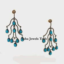 Natural Rose Cut Diamond & Turquoise Gold & 925 Sterling Silver Earrings Jewelry