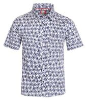 New Mens ID Extra Slim Fit Short Sleeve Button Up White Shirt Navy Blue Floral