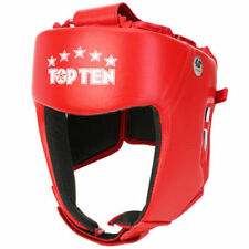 TopTen AIBA Gear Competition Protection Boxing Leather Training Head Guard Red M