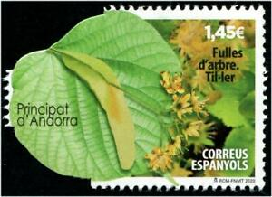 ANDORRA SPAIN 2020 LIME TREE LEAVES ODD SHAPED CUT-OUT COMP. SET OF 1 STAMP MINT